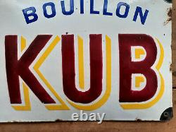 Ancienne plaque émaillée bombée BOUILLON KUB années 20 24x49cm