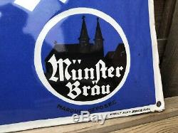 Ancienne plaque émaillée bombée Bières MÜNSTERBRÄU -no bidon dhuile affiche