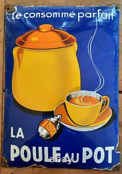 Ancienne plaque émaillée bombée LA POULE AU POT Cuisine Bar Restaurant 29x41cm