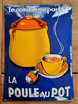 Ancienne plaque émaillée bombée LA POULE AU POT datée 3/36 Cuisine 29x41cm