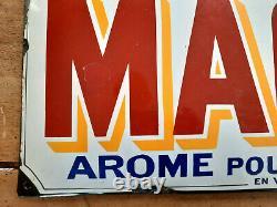 Ancienne plaque émaillée bombée MAGGI AROME POUR BONIFIER années 20 24x49cm