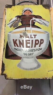 Ancienne plaque emaillée bombée Malt Kneipp Beuville