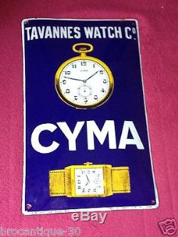 Ancienne plaque émaillée bombée montre CYMA de 1926