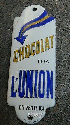 Ancienne plaque émaillée bombée originale de propreté Chocolat de l' Union