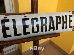 Ancienne plaque emaillée bombée poste et télégraphe