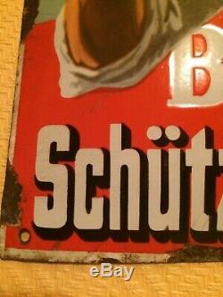 Ancienne plaque emaillée bombée schutzenberger