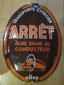 Ancienne plaque emaillee bombée transports Citroen arrêt grand modèle autobus