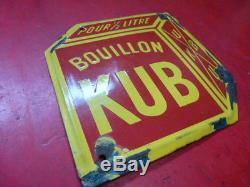 Ancienne plaque émaillée bouillon kub 20x20 cm