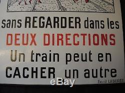 Ancienne plaque émaillée de Passage à niveau SNCF train