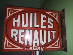 Ancienne plaque émaillée double face HUILES RENAULT