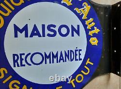 Ancienne plaque émaillée double face LE GUIDE DE L'AUTO automobilia garage Japy