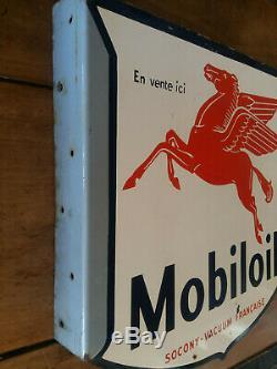 Ancienne plaque émaillée double face MOBILOIL équerre Socony-Vacuum Francaise