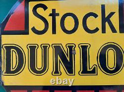 Ancienne plaque émaillée double face STOCK DUNLOP automobilia garage 50cm