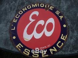 Ancienne plaque émaillée double face de garage ESSENCE ECO ESSO huile pompe