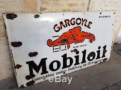 Ancienne plaque émaillée géante mobiloil garage oilcan