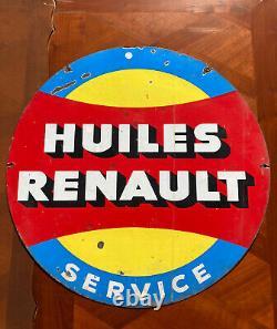 Ancienne plaque émaillée huiles Renault recto-verso 65 cm rare