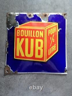Ancienne plaque emaillée kub bombée