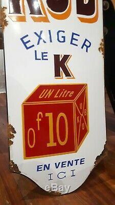 Ancienne plaque émaillée kub chapeau de gendarme (menier kneipp poule au pot)