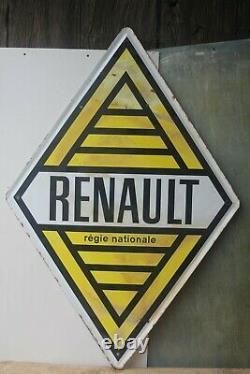Ancienne plaque émaillée losange Renault double face