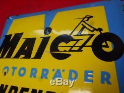 Ancienne plaque émaillée moto MAICO bombée