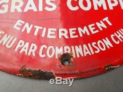 Ancienne plaque émaillée ovale ENGRAIS COMPLET PHOSAMO avec PIN UP agricultrice