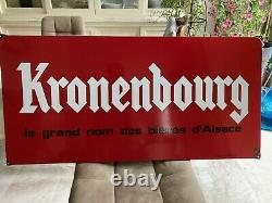 Ancienne plaque émaillée publicitaire Bière KRONENBOURG dimensions 48/98 cm