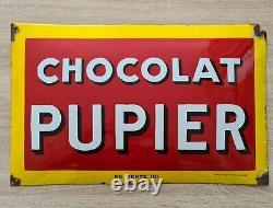 Ancienne plaque émaillée publicitaire CHOCOLAT PUPIER