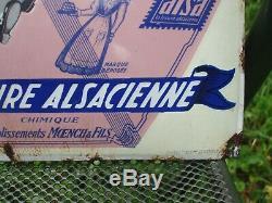 Ancienne plaque emaillée publicitaire Levure Alsacienne La Cigogne annee 30