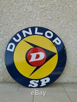 Ancienne plaque émaillée publicitaire Pneus DUNLOP déco garage automobile