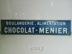 Ancienne plaque émaillée publicitaire chocolat Menier issue d'une boulangerie