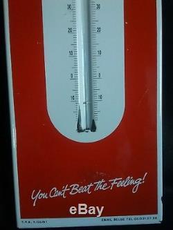 Ancienne plaque emaillee publicitaire thermomètre Coca-Cola