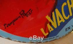 Ancienne plaque émaillée ronde bombée Vache qui rit 1ère version B. Rabier 1922