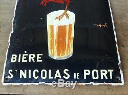 Ancienne plaque émaillée simple face bombée BIERE ST NICOLAS DU PORT année1933