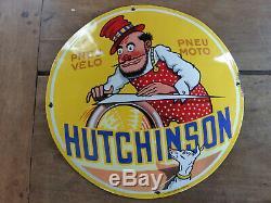Ancienne plaque émaillée simple face bombée HUTCHINSON diamètre 40cm émail E A S