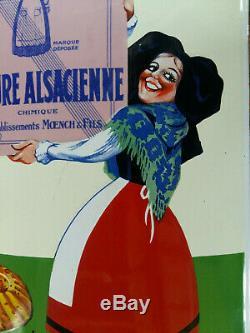 Ancienne plaque émaillée simple face bombée LEVURE ALSACIENNE ALSA émail E A S