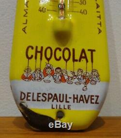 Ancienne plaque émaillée thermomètre Chocolat DELESPAUL no plaque émaillée kub