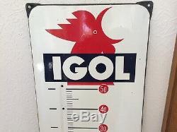 Ancienne plaque emaillée thermomètre igol eas