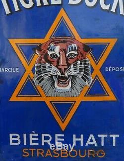 Ancienne plaque émaillée tigre bock