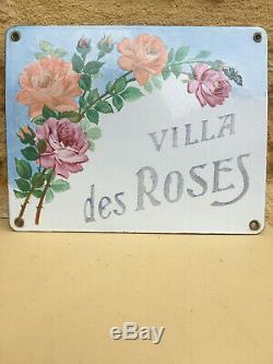Ancienne plaque émaillée villa des roses
