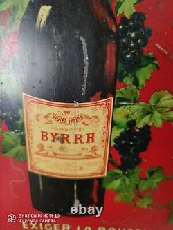 Ancienne plaque en TOLE BYRRH lithographiée BAR PUB vin no émaillée