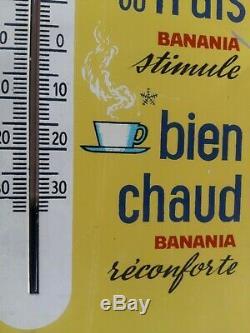Ancienne plaque en tôle lithographiée Thermomètre BANANIA Chocolat 17x54cm 60's
