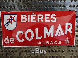 Ancienne plaque émaillée BIERE DE COLMAR