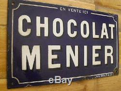 Ancienne plaque émaillée CHOCOLAT MENIER