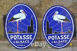 Ancienne plaque émaillée La Potasse d'Alsace recto verso