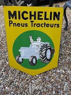 Ancienne plaque émaillée MICHELIN TRACTEUR