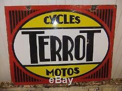 Ancienne plaque émaillée TERROT double face 66 x 48 cm