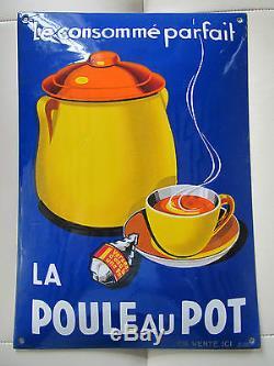 Ancienne plaque émaillée bombée alimentaire la poule au pot datée 2/1938
