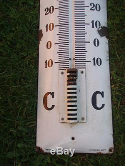 Ancienne plaque émaillée bombée thermometre CASTROL