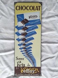 Ancienne plaque émaillée chocolat KOHLER