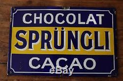 Ancienne plaque émaillée chocolat Sprüngli Cacao chocolaterie suisse émail